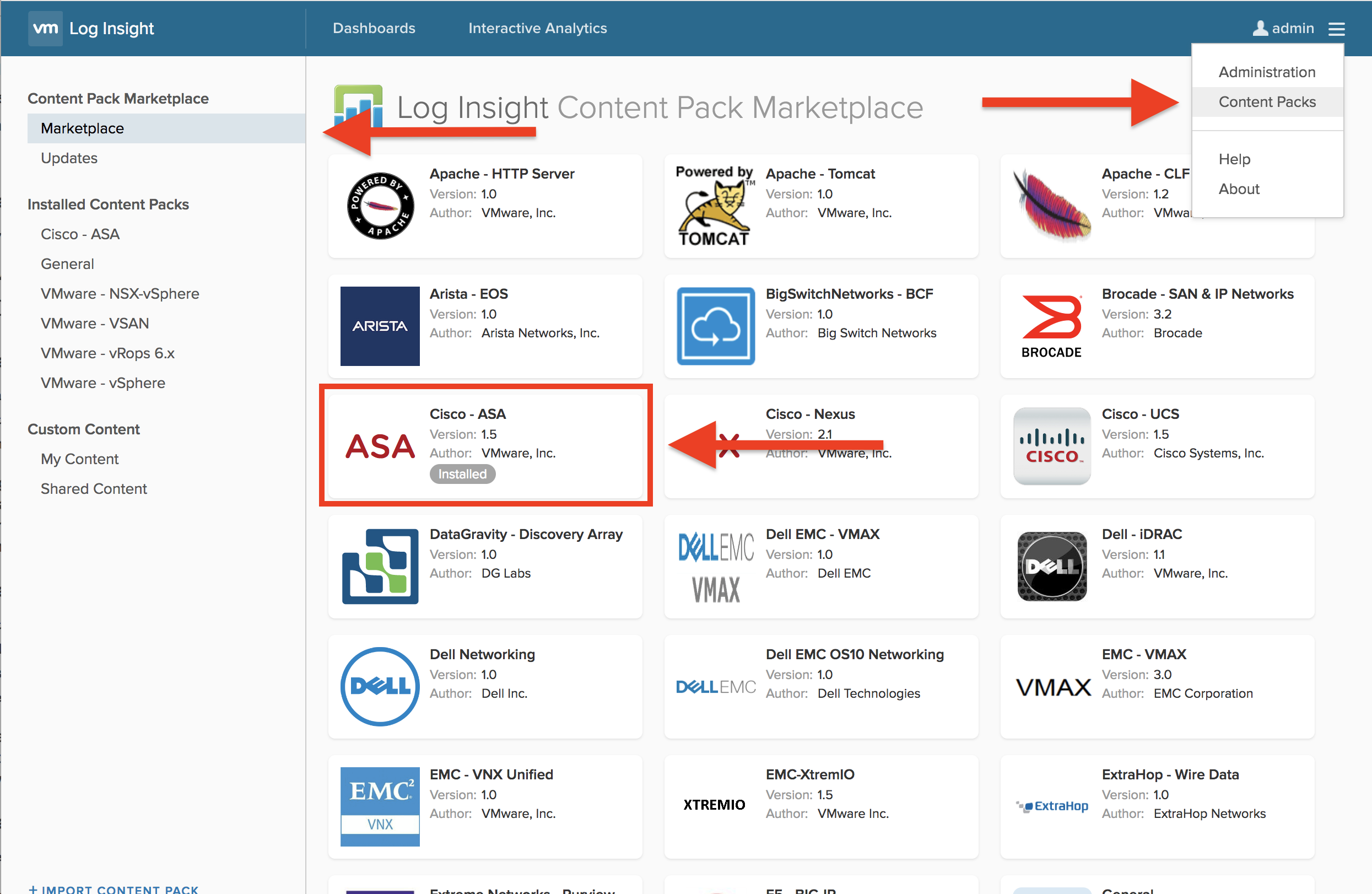 Using the VMware Log Insight – Cisco ASA Content Pack to